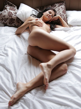Lovely erotic brunette angel Lauren Loving herself